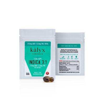 Kalyx 3 to 1 Indica Capsules (2.5mg THC/7.5mg CBD – 5 caps/bag)