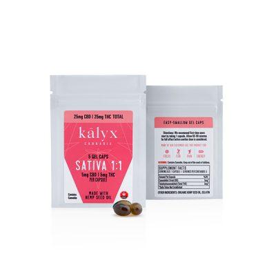 Kalyx 1 to 1 Sativa Capsules (5mg THC + 5mg CBD – 5 caps/bag)